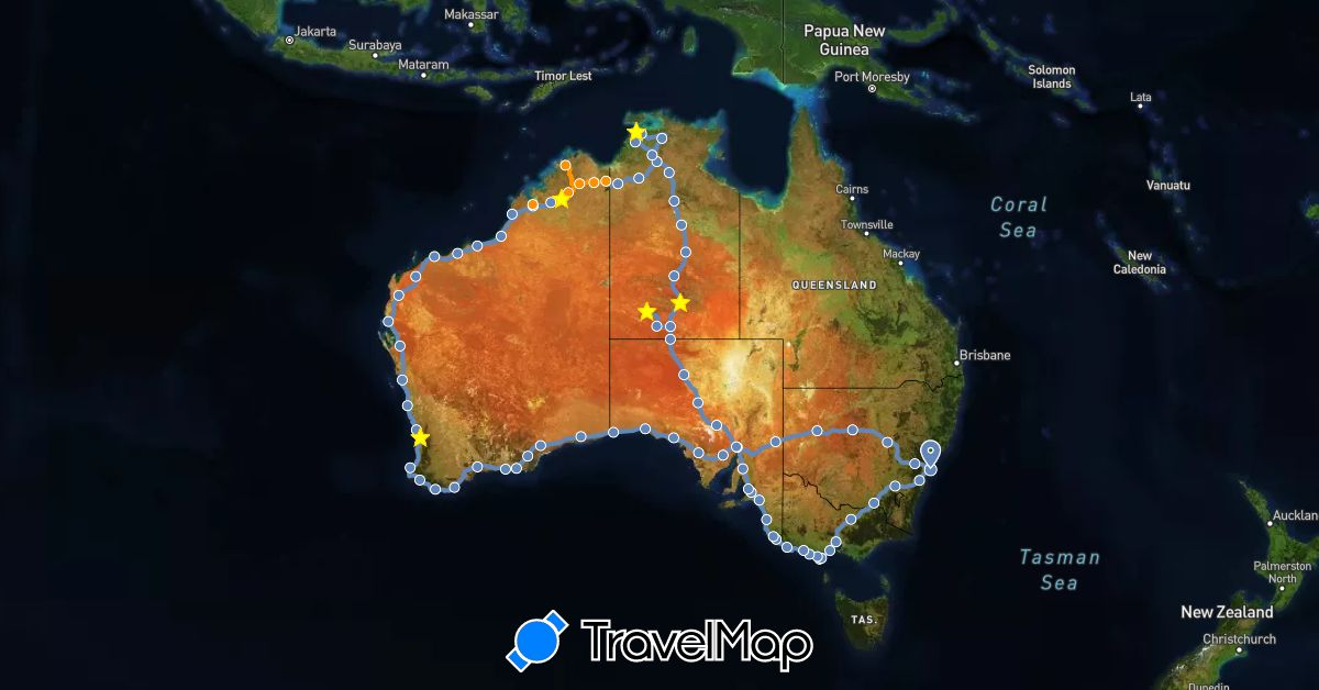 TravelMap itinerary: cycling, hitchhiking in Australia (Oceania)