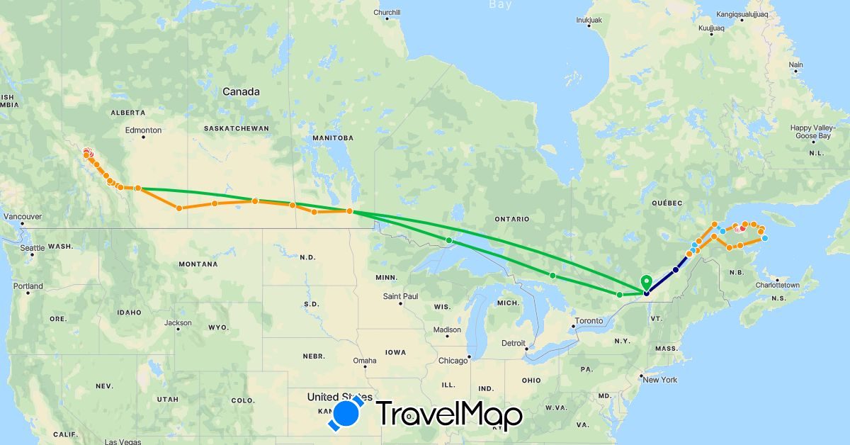 TravelMap itinerary: driving, bus, hiking, boat, hitchhiking in Canada (North America)