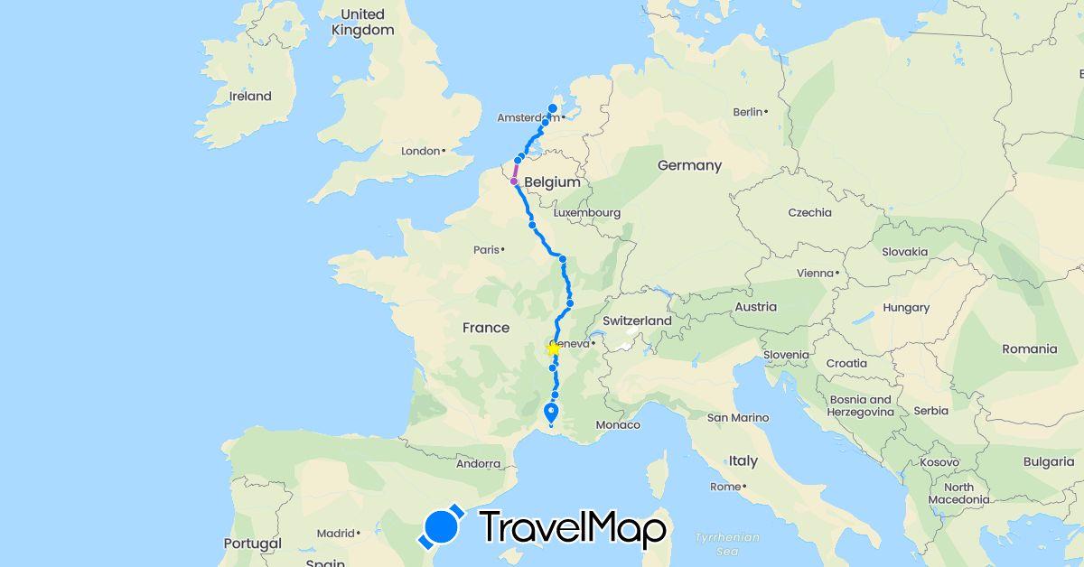 TravelMap itinerary: driving, train, rowing-bike in Belgium, France, Netherlands (Europe)
