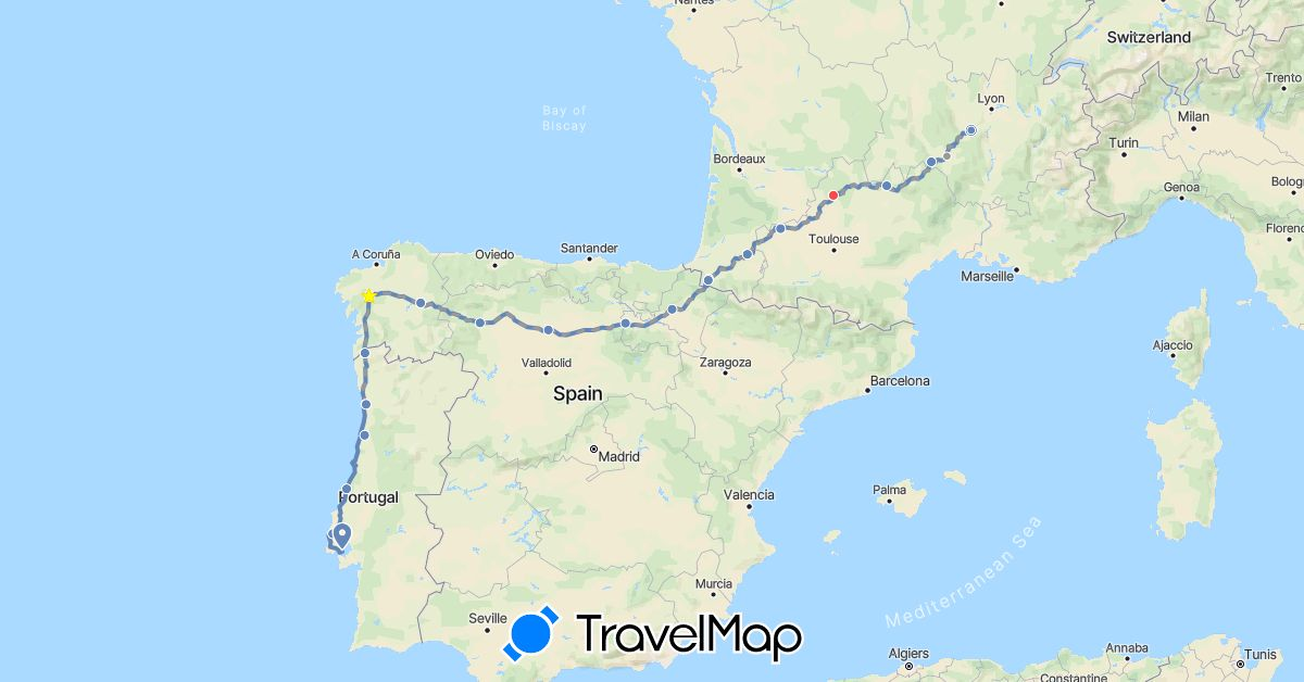 TravelMap itinerary: cycling, hiking, planned in Spain, France, Portugal (Europe)